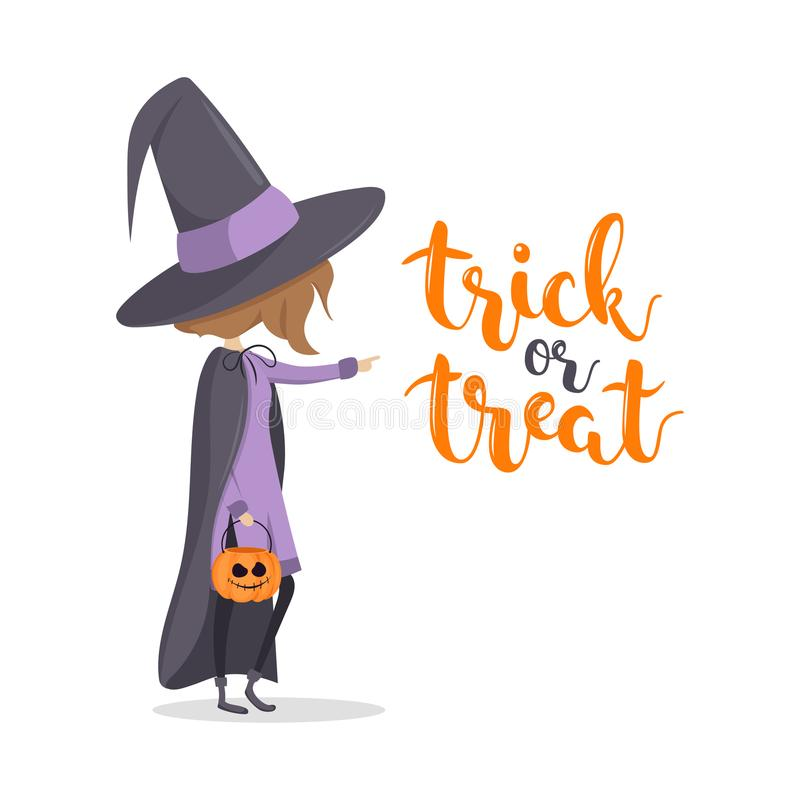 Greeting message. Cute witch with pumpkin and `trick or treat` Happy Halloween royalty free illustration