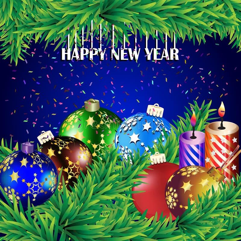 greeting nytt år för kort stock illustrationer