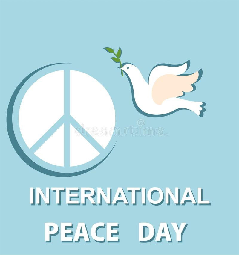 Greeting Pastel Blue Card With Paper Cut Out Dove And Peace Symbol