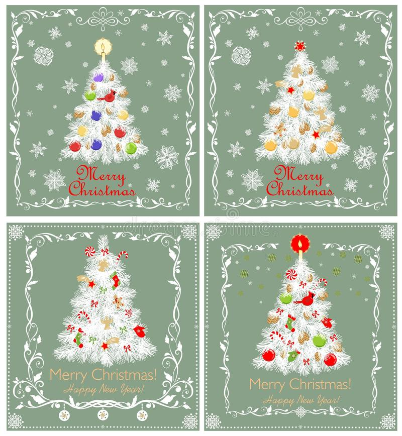 Greeting pastel green retro Xmas cards collection with paper cutting Christmas white tree with red green toys, golden candle, ange. Greeting green pastel retro royalty free illustration