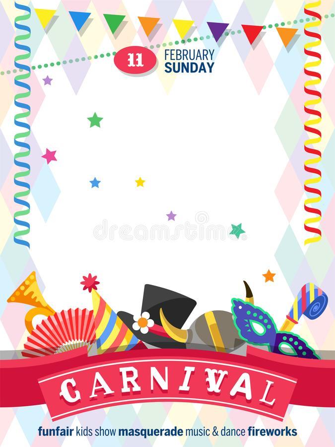 Greeting poster for Carnival with colorful festive elements separated on white background. Flat desig. Greeting poster for Carnival with colorful festive stock illustration