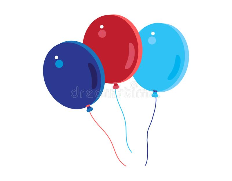 4th of July Happy Independence Day symbols icons set Patriotic American flag, balloons isolated flat vector stock illustration