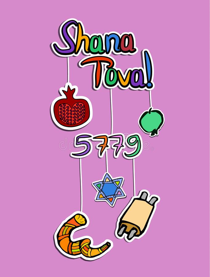 Greeting on Rosh Hashanah in paper style. Sticker. 5779. Shofar, pomegranate, apple, scroll, star. Doodle. Hand draw. Vector. stock illustration