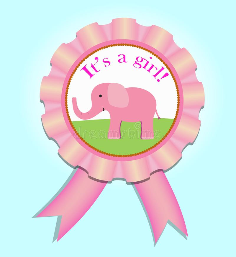 Greeting satin medal for baby girl. Baby Shower  illustration royalty free illustration