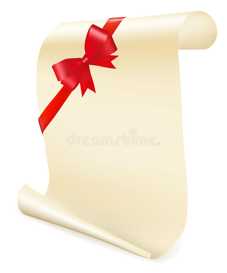 Download Greeting Scroll With Red Bow. Stock Vector - Image: 17520219