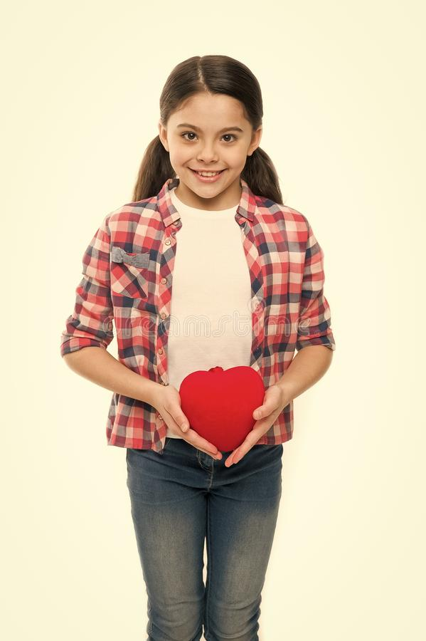 Greeting from sincere heart. Girl cute child hold heart symbol love. Celebrate valentines day. Love and romantic stock image