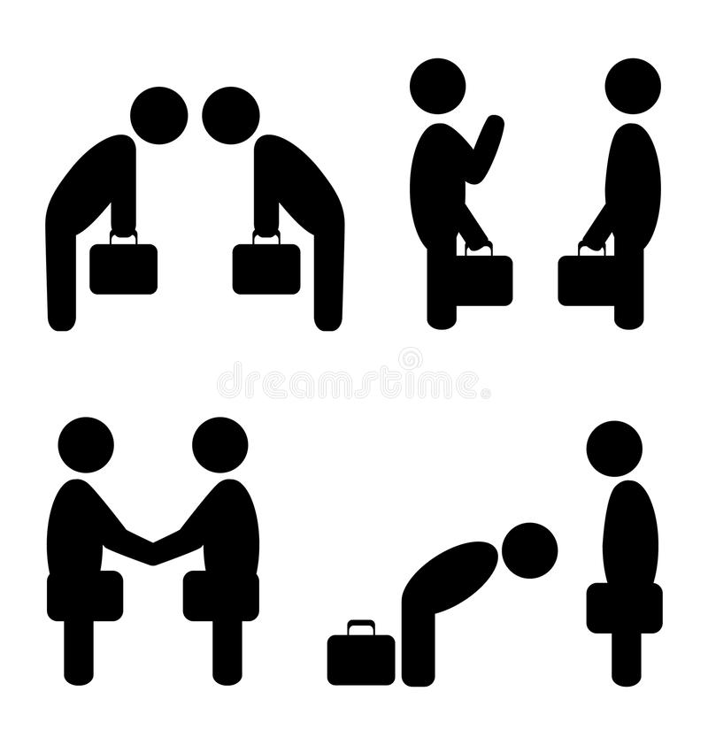 Greeting situation icons. Set of greeting etiquette business situation icons isolated on white stock illustration