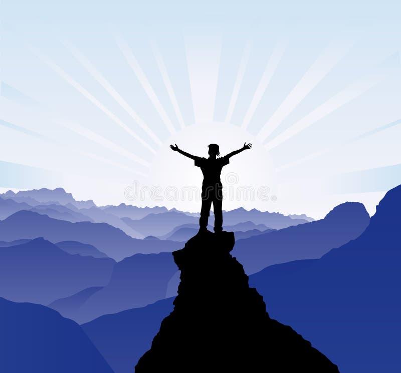 Greeting sun. Illustration AI8 Man on the top of the rock stock illustration