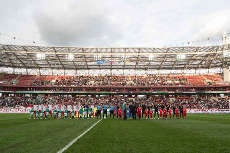 Download Greeting Teams On Game Russian Team Against Northern Ireland Editorial Stock Photo - Image: 31682663