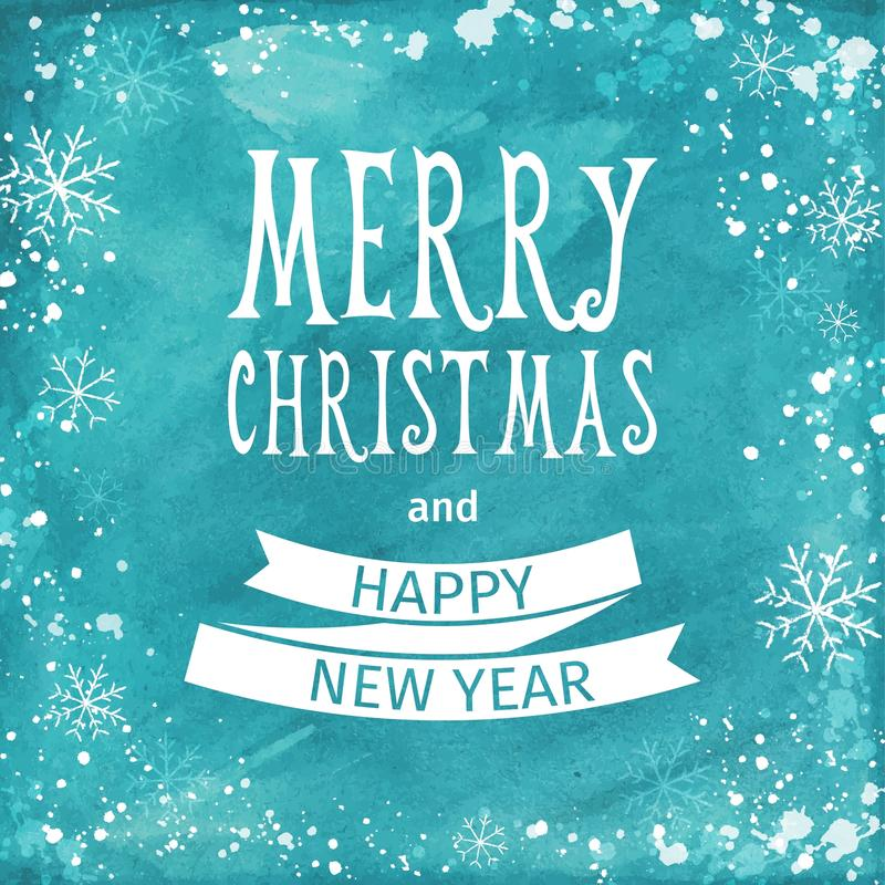 Greeting watercolor Card. Merry Christmas lettering. Vector royalty free illustration