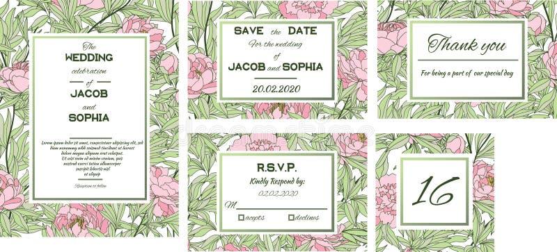 Greeting, wedding invite template. Vintage wedding invitation. Vector natural, botanical, elegant template. Vector. Floral design card. Retro greeting card for stock illustration