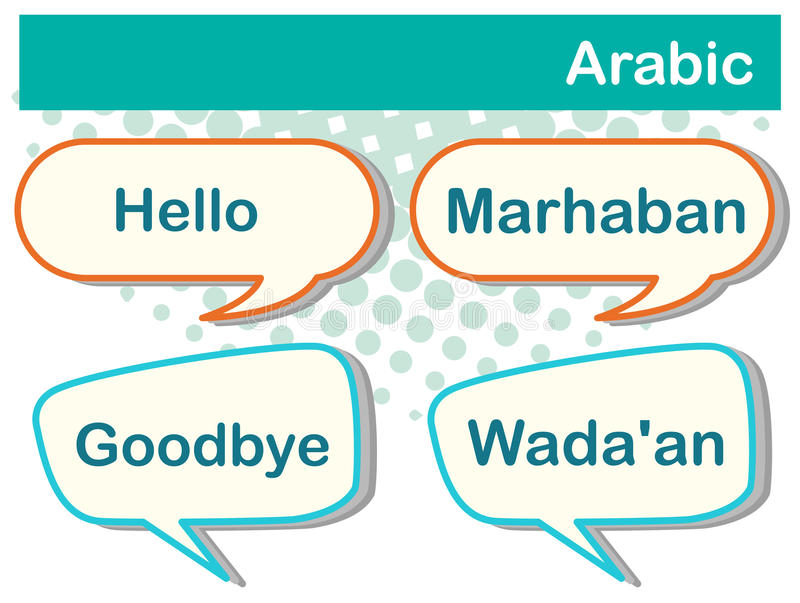 Greeting words in Arabic on poster stock illustration