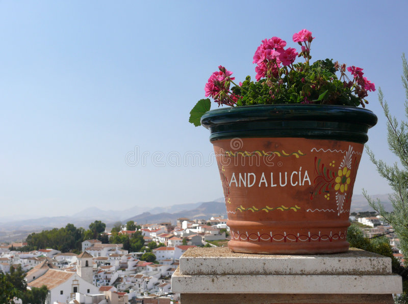 Greetings Andalusia. flowers, old town & summer stock photos