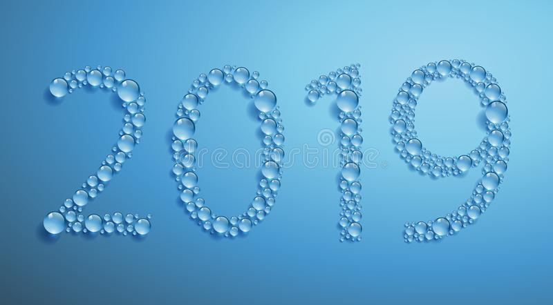 Greeting card on the theme of ecology and sustainable development with water drops forming 2019 stock illustration