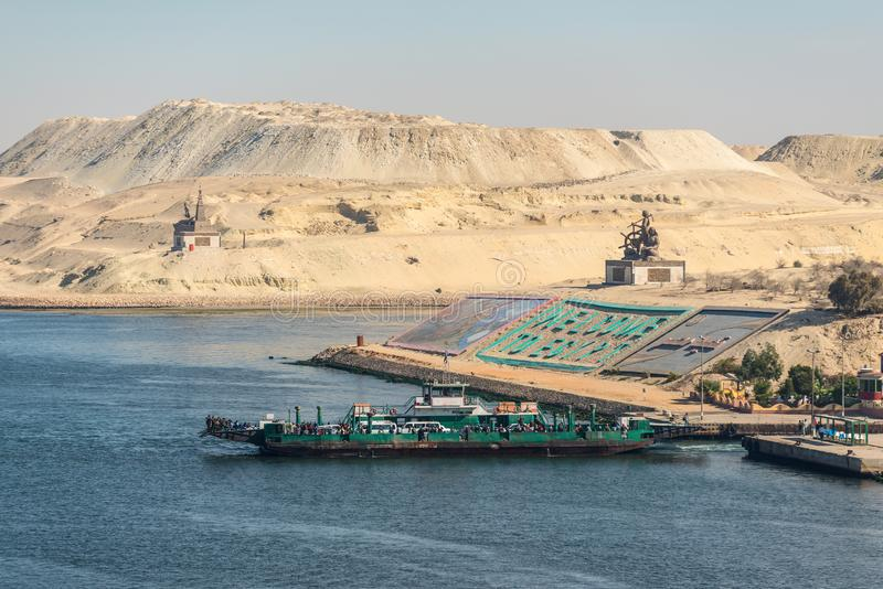 Greetings in Egypt at new Suez Canal in Ismailia, Egypt. Ismailia, Egypt - November 5, 2017: Monuments and gigantic letters saying `welcome to Egypt` in English stock images