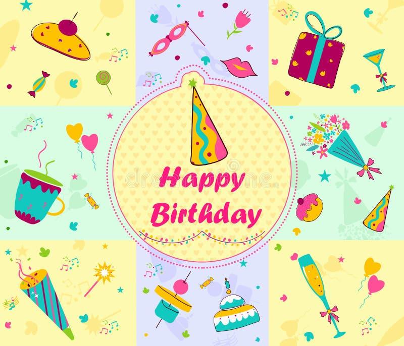 Greetings for Happy Birthday stock illustration