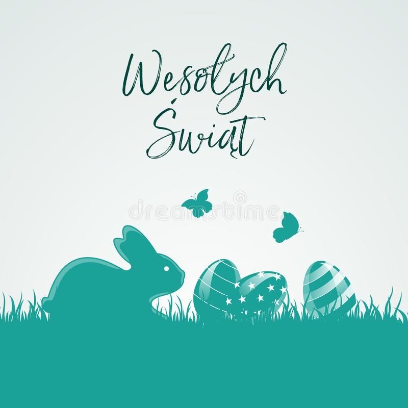 Greetings Happy Easter in Polish with easter eggs, bunny and butterflys stock illustration