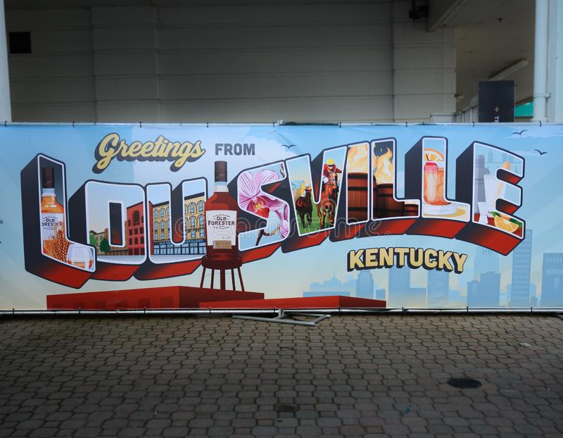 Greetings from Louisville. Lousivlle, KY, United States: May 2, 2019: Greetings from Louisville sign welcomes visitors stock photos