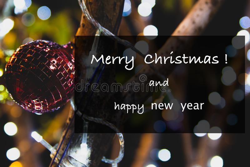 Greetings Merry Christmas. And Happy New Year royalty free stock photography