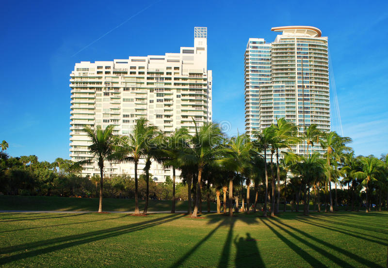 Greetings from Miami Beach. Miami Beach resorts, Florida, USA royalty free stock images
