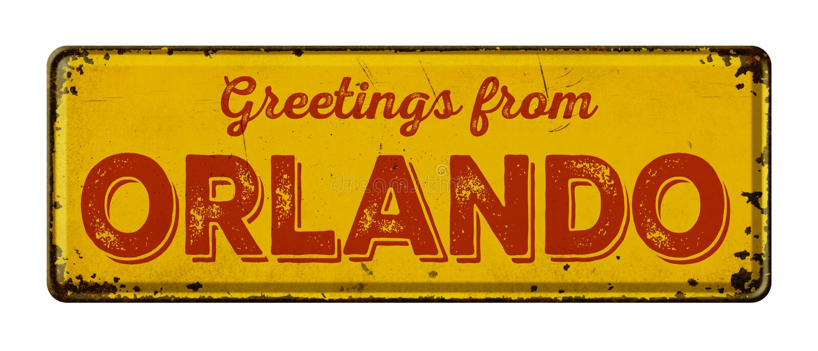 Greetings from Orlando. Vintage metal sign on a white background - Greetings from Orlando royalty free stock image