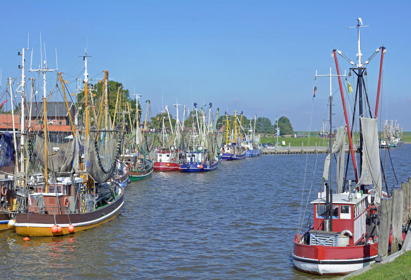 Greetsiel,北海,德国 免版税库存图片