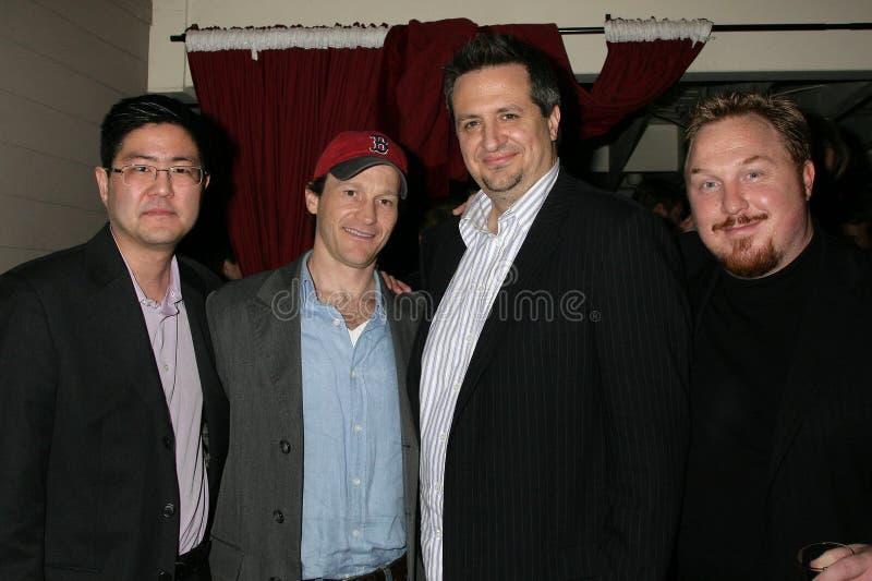 Greg Hatanaka y Michael Leydon Campbell con Craig Carlisle y Keith Kjarval en la premier de Los Ángeles del ?canguelo de Bob?. Lae fotografía de archivo libre de regalías