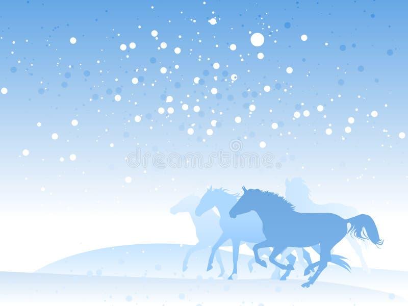 Gregge del cavallo in inverno illustrazione di stock
