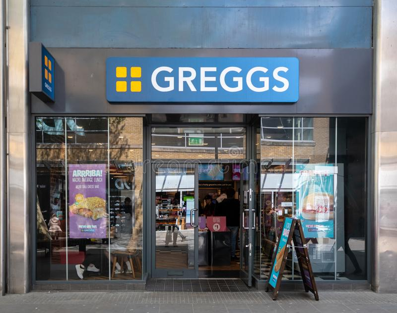 Greggs bakers Swindon. Swindon, United Kingdom - May 04 2019:   The Frontage of Greggs Bakery in Canal Walk stock photography