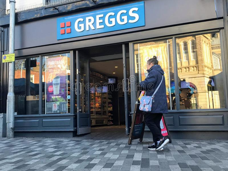 Greggs store. Greggs plc LSE: GRG is the largest bakery chain in the United Kingdom. It specialises in savoury products such as bakes, sausage rolls and stock images