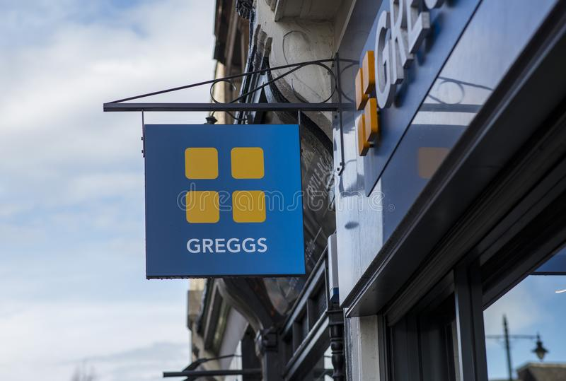 Greggs sign in the city centre, Nottingham stock photo
