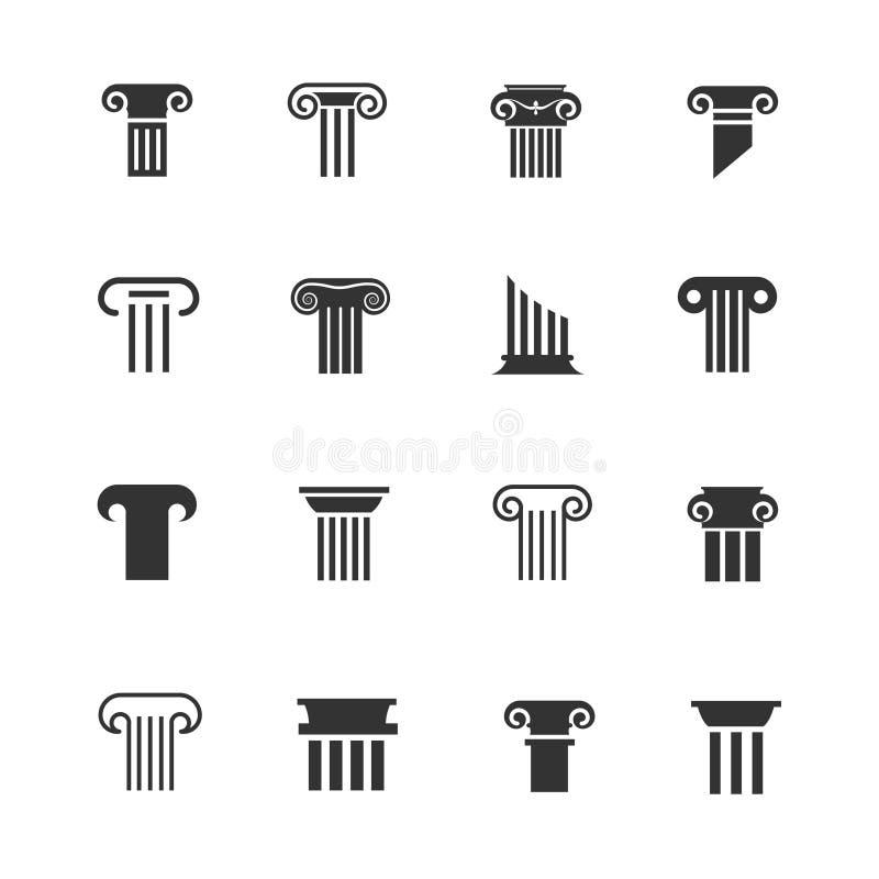 Grego clássico e ícones romanos da coluna Sinais arquitetónicos do branco do preto do vetor da coluna ilustração royalty free