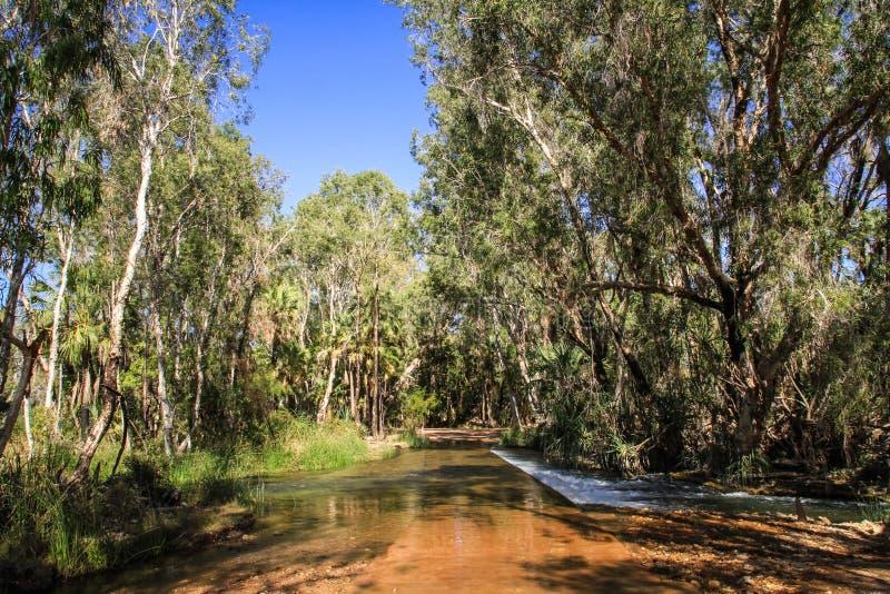 Gregory Downs Rivercrossing, Savannah Way, Queensland, Australië stock foto