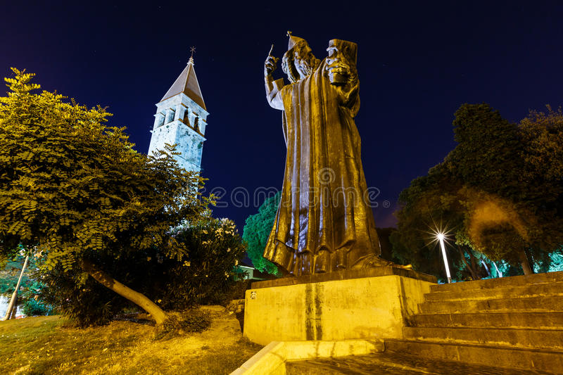 Gregory of Nin Statue and Bell Tower in Split royalty free stock photos