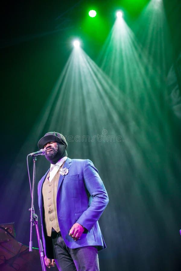 Gregory Porter bij Kaunas-Jazz 2015 royalty-vrije stock afbeeldingen