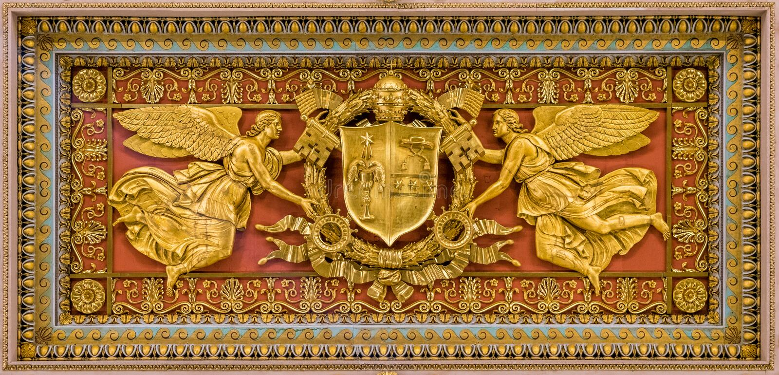Gregory XVI coat of arms from the ceiling of the Basilica of Saint Paul Outside the Walls, in Rome. The Papal Basilica of St. Paul Outside the Walls, commonly stock images