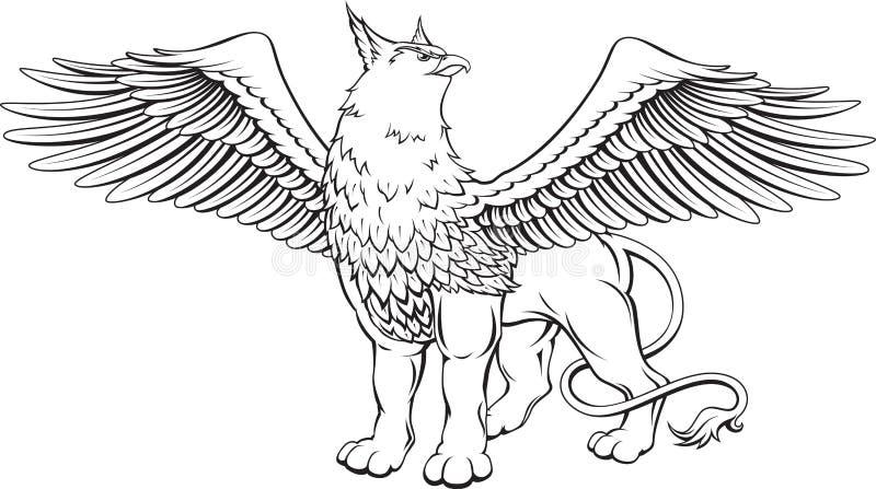 Greif - ein Fabelwesen mit dem Kopf, den Greifern und den Flügeln von vektor abbildung