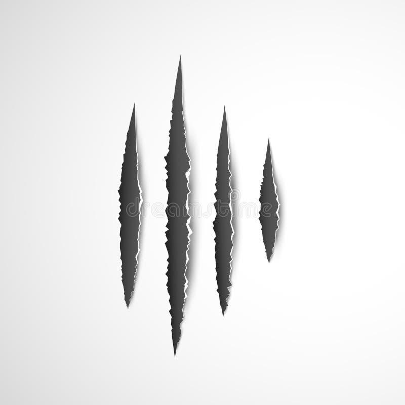 Greifertatze verkratzt lokalisierten Vektor auf weißem Hintergrund Tier-Greiferhorrorkratzertiger, -löwe oder -bär stock abbildung