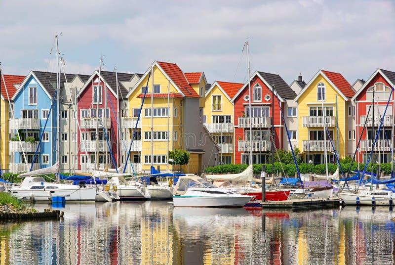 greifswald港口房子 免版税库存照片