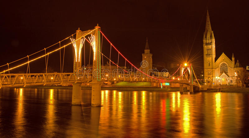 Greig Street suspension bridge Inverness. royalty free stock photography