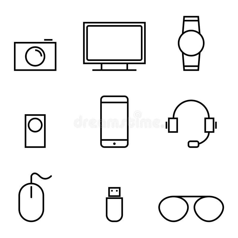 Grej och teknologisymbolsuppsättning vektor illustrationer