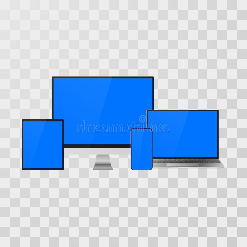 Grejen ställde falskt upp in Realistiska apparater bärbar dator och bildskärm, mobiltelefon och minnestavla för din baner och pre vektor illustrationer