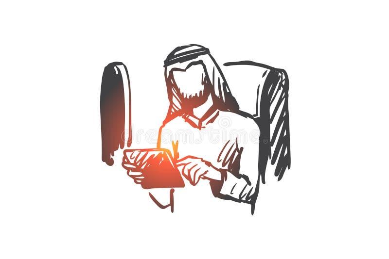 Grejer affärstur, affärsman, muselman, flygplanbegrepp Hand dragen isolerad vektor stock illustrationer
