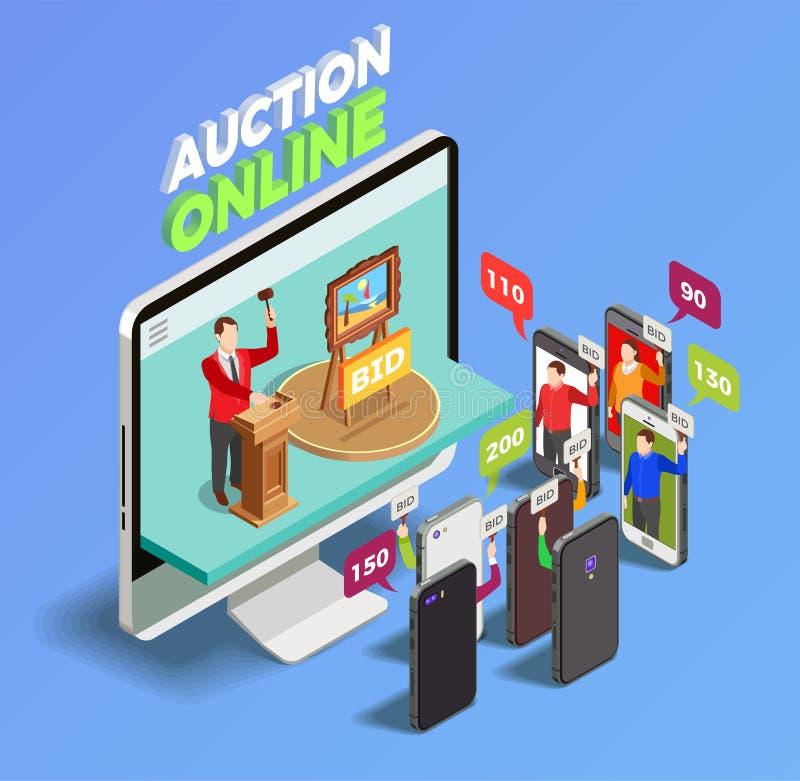Grejer på auktionbegrepp stock illustrationer