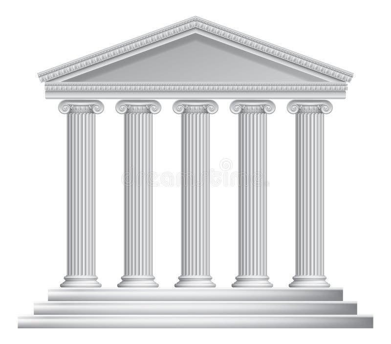 Grek eller Roman Temple Columns royaltyfri illustrationer
