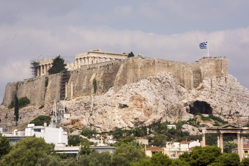 Grek flaga na akropolu fotografia royalty free