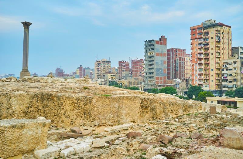 Grek-romaren fördärvar i Alexandria, Egypten royaltyfri foto