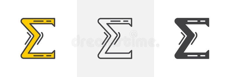Grek sigmy listowa ikona royalty ilustracja