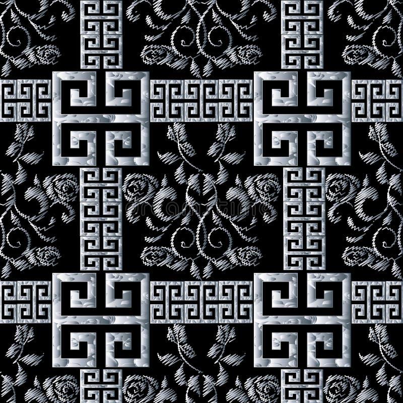 Grek slingrar den sömlösa modellen Blom- svart vit gobeläng ros royaltyfri illustrationer