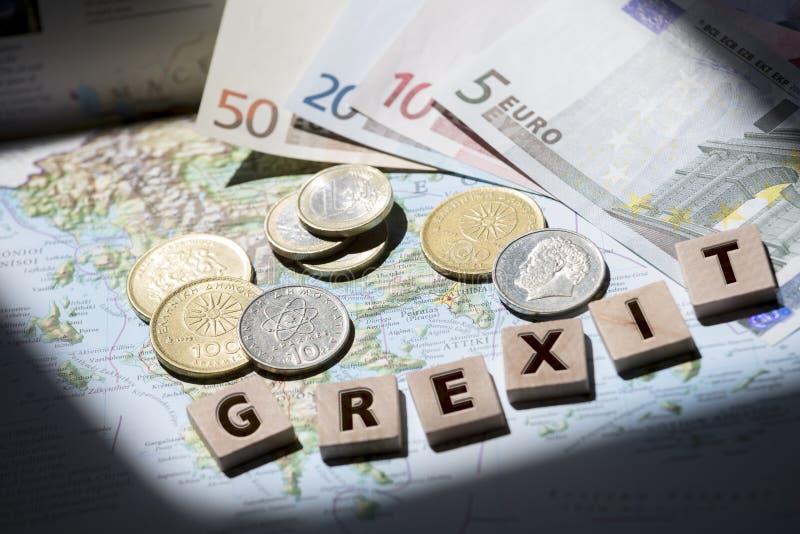Grekisk översikt, euro och drakmagrexitbokstäver arkivbilder